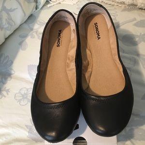 Genuine Black Leather Flats